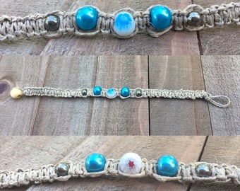 Blue bracelet jewelry hemp