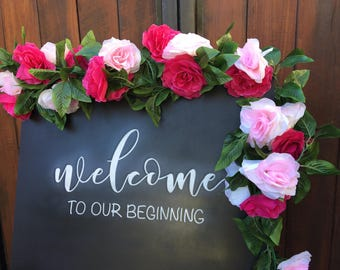 Welcome to our beginning chalkboard | wedding sign | wedding chalkboard