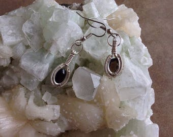 Sterling Silver Faceted Smokey Quartz Wire Wrapped Earrings