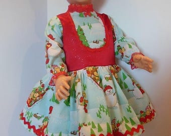 """Red Vested Holiday Print Dress Set for Effanbee 30"""" Mary Jane Dolls"""