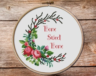 home sweet home cross stitch pattern, flowers cross stitch, floral ornament, floral pattern counted cross stitch, sweet home room decor