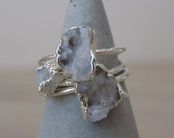 Raw quartz silver ring - raw crystal ring - silver crystal ring - druzy ring - quartz stone ring - raw stone ring