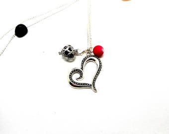 A scent! Necklace has perfume heart pink red Pearl