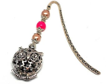 Silver bookmark owl, pink and champagne beads