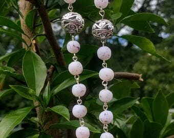 27 Blue and White Flower Infused Polymer Clay Bead Mala