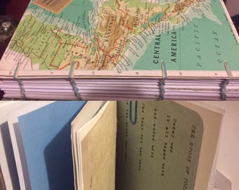 Vintage Anerican Map covered travel journal