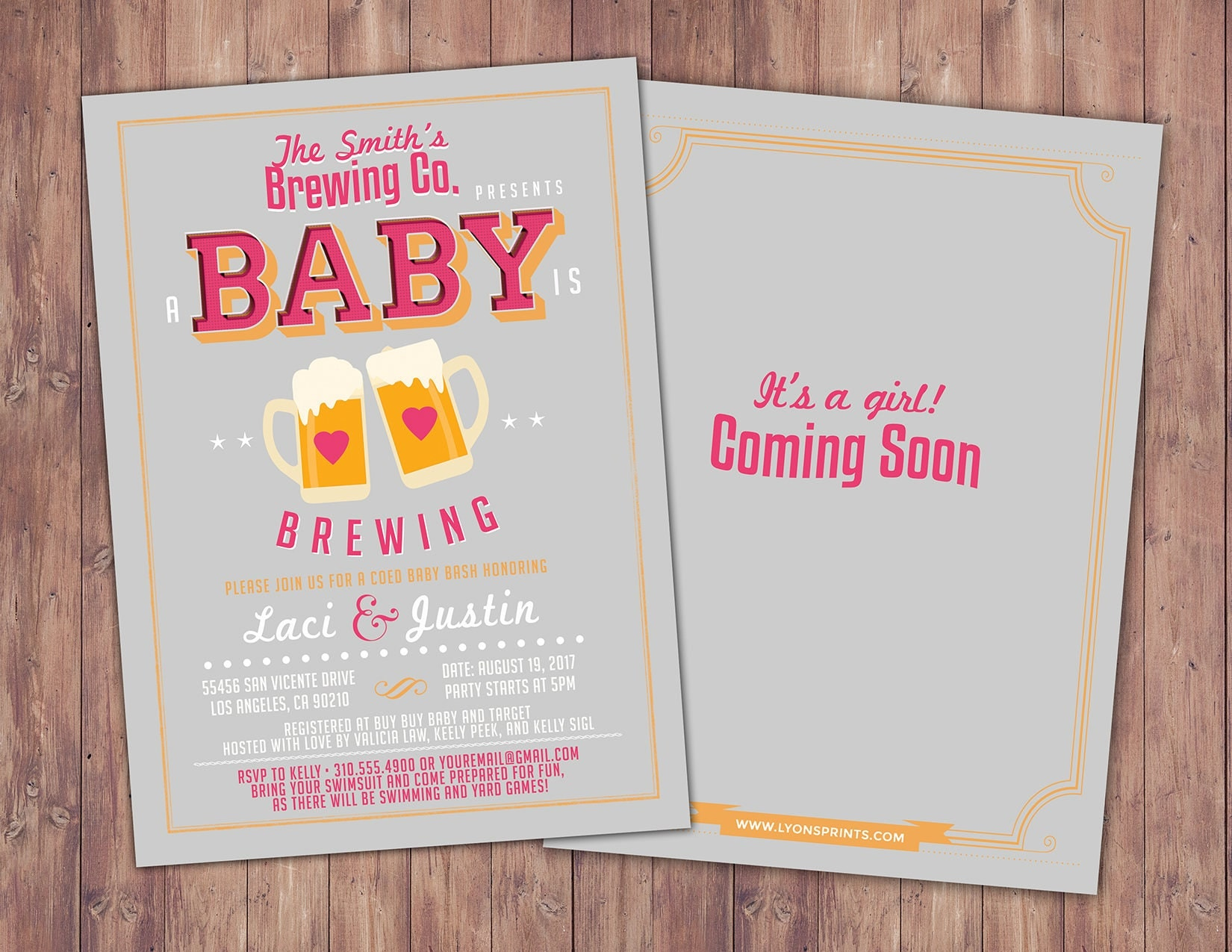 Baby is brewing Coed baby shower invitation Beer baby shower