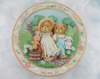 "Cherished Teddy Plate, ""Jack and Jill"" Nursery Rhyme Sculpted Plate, 3D. 1994 Vintage PNIB #114901"