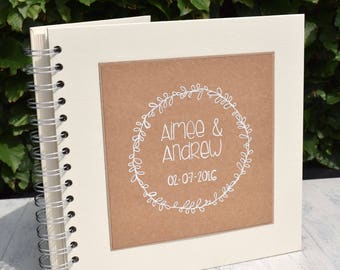Hand Illustrated Rustic Laurel Leaf Wedding Guest Book, Handmade and Personalised in White Ink