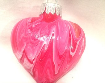 Red White and Gold Acrylic Pour Swirl Painted Glass Heart Ornament.
