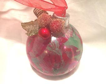 Red & Green Marble Swirl Hand Painted Glass Ball Christmas Ornament Berries Leaf Ribbon