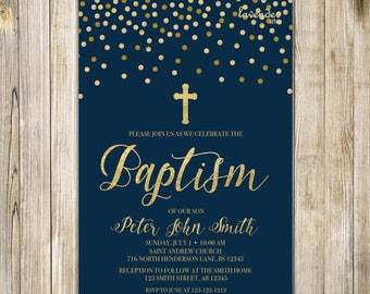 NAVY and Gold BAPTISM Invitation, Printable Baptism Invite, Baby Boy Holy COMMUNION, Baby First Communion Invites, Navy Blue and Gold, LA20