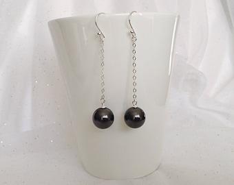 PEARL BLACK EARRINGS - Swarovski Black Crystal Pearl Earrings - Black Crystal Pearl Earrings - Long Drop Earrings