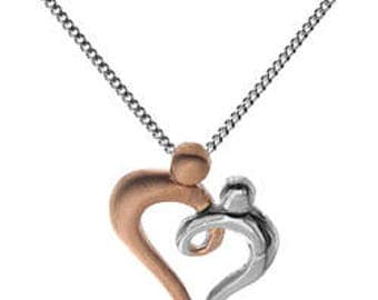 Sterling Silver Gold Vermeil Mother Child Heart Necklace