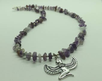 Amethyst Gemstone Chip Beads Sterling Silver Egyptian Goddess Pendant Necklace February Birthstone