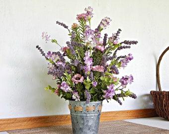 Wildflower Arrangement, Faux Floral Arrangement, Rustic Country Flowers, Woodlands Decor, Summer Flower Arrangement, Artificial Flowers