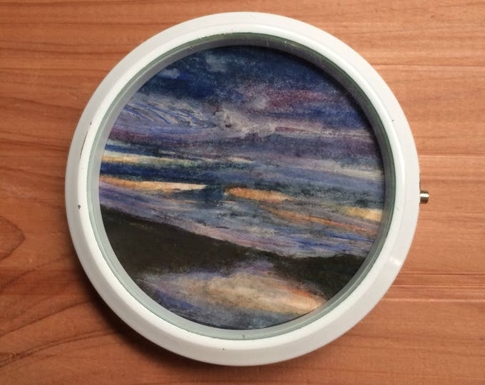 Tempus / tiny original watercolor painting framed in timeless watch mounted on cedar woodblock / sunset + storm painting / landscape art