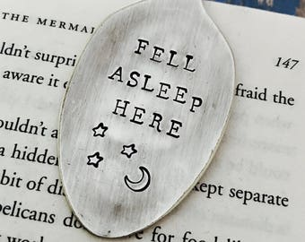 Fell Asleep Here Vintage Spoon Bookmark - Moon and Stars - Bookworm - Graduation - Back to School - Gift - Upcycled - Silverplate - Funny