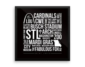 St. Louis Typography Print - Framed or Unframed