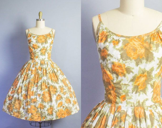 1950s Floral Rose Sundress/ Small (34b/26w)