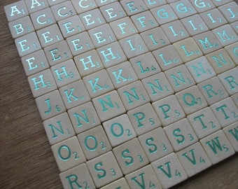 103 metallic green Scrabble letters, bulk scrabble tiles, wooden game tiles