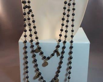 Danielle Stevens 3 tier dark gray bead necklace