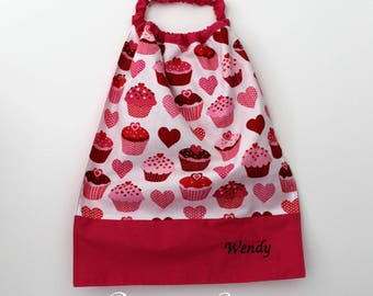 Canteen, school, birthday * napkin, bib, canteen, with elastic at the neck - cotton CUPCAKES - custom