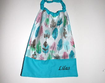 Canteen, home, birthday * bib, napkin, canteen, with elastic at the neck feathers - to order