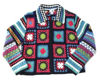 90's Grunge Rainbow  Mulit Color Open Crochet Knit Cardigan Sweater