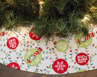 Cat Christmas Tree Skirt-Cat In The Hat-Christmas Ornaments-Christmas Tree Skirt-Snowflakes-Tree Skirt-Christmas Decor-Christmas Lights-42""