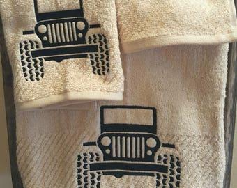Jeep-Jeep Towel-Embroidery-Bath Towel- Home Decor-Bathroom Decor-Country Decor-3 Piece Set