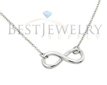 Sterling Silver .925 Rhodium Plated Infinity Pendant Necklace