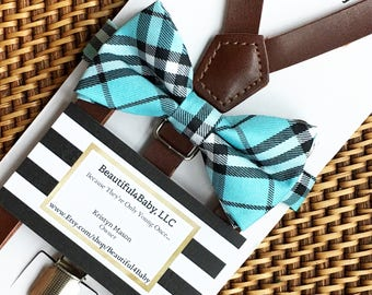 Turquoise Bow Tie and Leather Suspenders, Blue Bow Tie and Leather Suspenders, Baby Boy Tie, Toddler Bow Tie, Blue Bow Ties- 6 Mo to 5 Yrs
