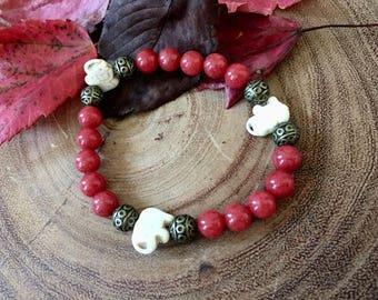 White Stone Elephant Antique Brass Bracelet, Boho Bracelets, Elephant Jewelry, Positive Energy Bracelet, Red Bracelets, Gifts for Her