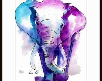 Elephant Watercolor art  - Watercolor Painting Art Print  - Fall home decor and wall art 074