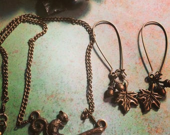 Squirrel and Acorn Brass Necklace