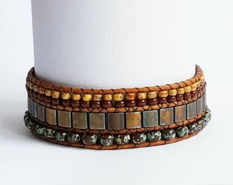 Leather cuff bracelet, brown leather bracelet, boho bracelet, Ibiza bracelet, women's bracelet, birthday gift, hipster bracelet