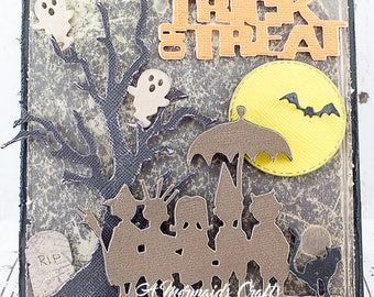 Trick or Treat Happy Halloween Haunted Scene Greeting Card