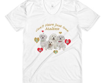 Maltese Can't Have Have Just One Love Sublimation women's crew neck t-shirt