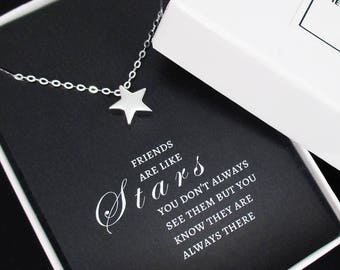Best Friend Necklace Sterling Silver Tiny Star Necklace, Best Friend Gift, Friendship Necklace with Message Card