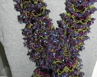 Knitted Ruffles Yarn scarf made