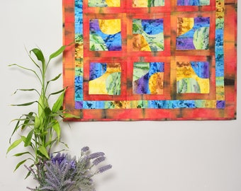 Art quilt wall hanging, Colorful art, patchwork quilt wall decor, living room home decor, quilts for sale, textile wall art original