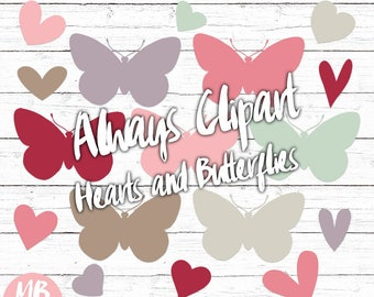 BUTTERFLIES and HEARTS clipart set, Printable pdf, Lilac, Pink, Red, Taupe, Mint, Digital Scrapbooking, Instant Download
