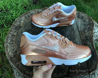 Nike Air Max 90 SE Bronze Girls' Women Shoes Customized with Swarovski Crystals