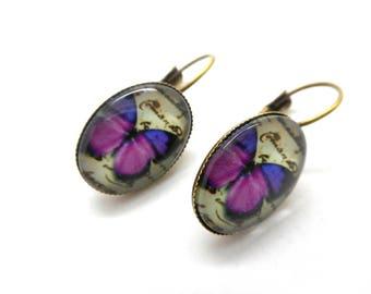 Purple Butterfly cabochon earrings