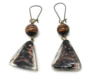 Bronze earrings, glass triangle beads