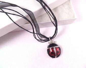 Ladybug Necklace, Black and Red Necklace, Ladybug Pendant, Ribbon Necklace, Black Necklace, 18 inch Necklace, Ladybug Jewelry