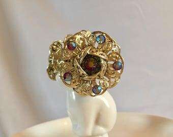 Sarah Coventry Aurora Borealis Gold Filigree Clip on Earrings 1960s