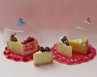 1:6 Cheesecake Slices Handmade Miniature Cake, Barbie Silkstone 1/6 scale Playscale Food Mini Collector Gift