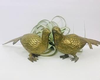 """Vintage Brass Pheasant Bird 13"""""""